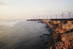 windmills on coastline